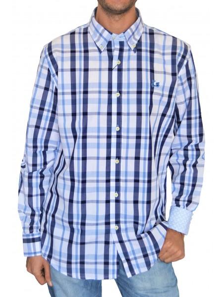 """Camisa de cuadros Ridebike """"la vespa"""" en colores azules"""
