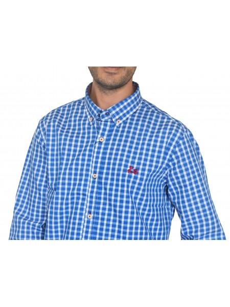 Camisa de cuadros StreetBike hombre en tonos azules y blancos