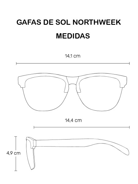 Gafas de sol unisex Northweek Black matte| Bright white | lente ice blue polarizada