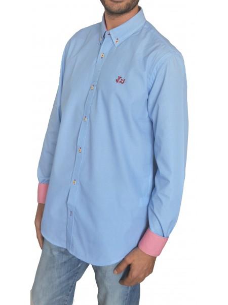"""Camisa azul  Ridebike """"la vespa"""" con estampado fino"""