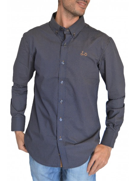 Camisa Coolbike azul navy con topitos