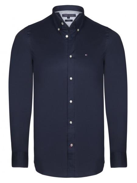 Camisa lisa Tommy Hilfiger hombre en color azul navy