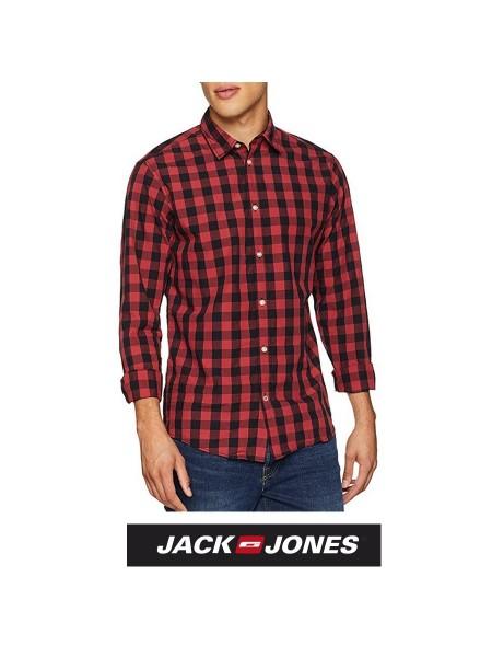 Camisa de cuadros Jack & Jones hombre color roja y negra