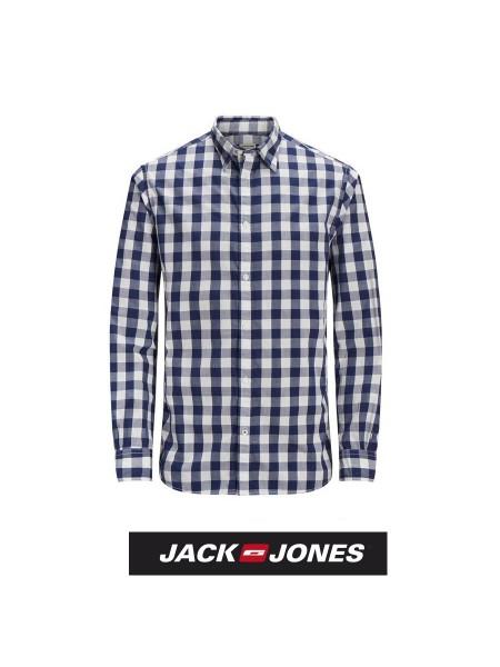 Camisa de cuadros Jack & Jones hombre color azul y negra