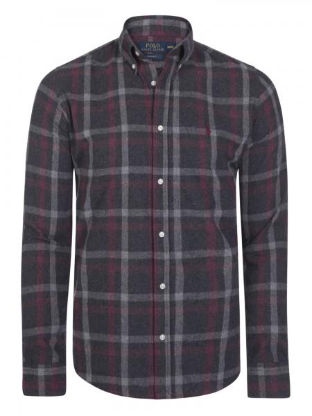 Camisa de cuadros Ralph Lauren gris,  granate, negra
