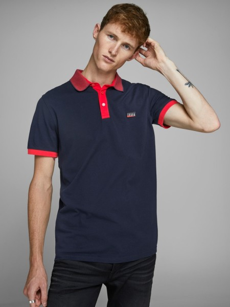 JACK & JONES Hombre polo manga corta Mod  JCOCHARMING color azul marino