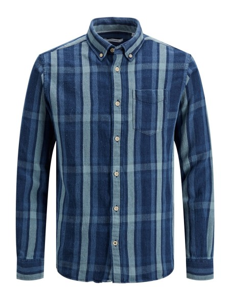 Jack & Jones Hombre camisa de algodón Mod JJByron en color Dark Blue denim cuadros