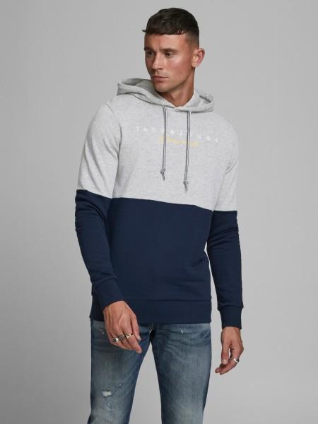 Jack & Jones hombre sudadera con capucha Jortrailer Sweat Hood Bicolor en gris y azul