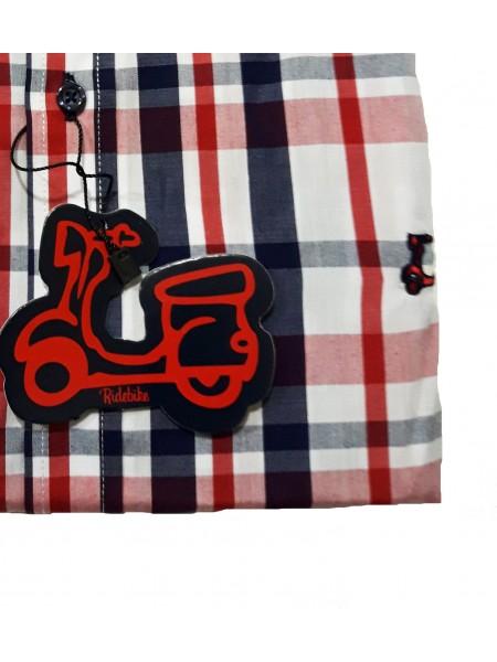 Camisa de cuadros Ridebike hombre en tonos rojos y azules