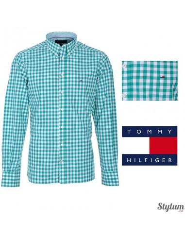 Camisa Tommy  Hilfiger hombre de cuadros verdes y blancos
