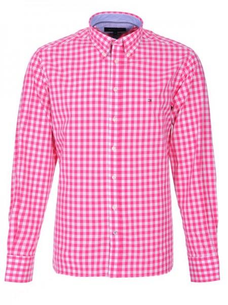 Camisa Tommy  Hilfiger hombre de cuadros rosas y blancos