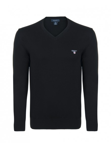 Jersey algodón Gant hombre negro